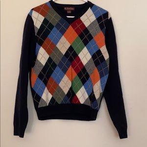 BrooksBrothers Argyle/Navy Lambswool Sweater SizeL